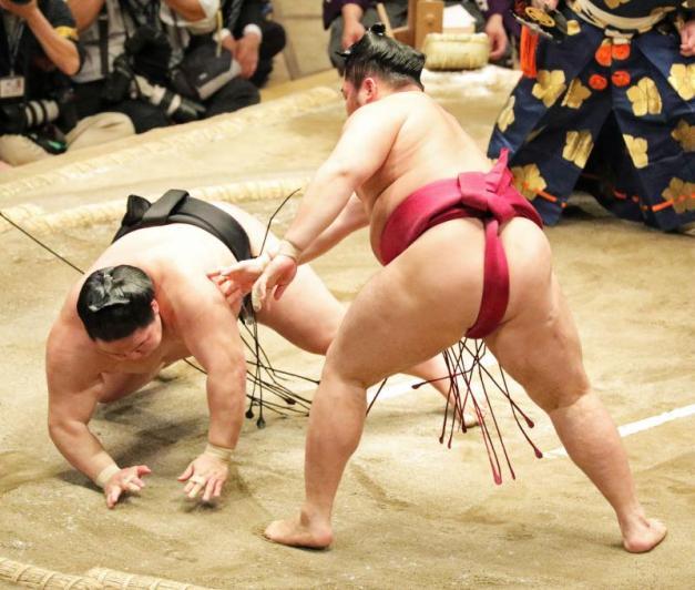 Esta caída de Goeido en su derrota de ayer frente a Endo le ha supuesto lesionarse la rodilla y tener que abandonar el torneo (Foto: SumoForum.net)